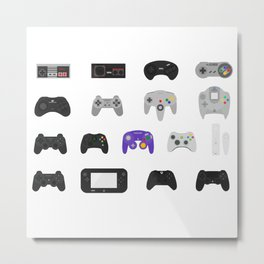 Controller Evolution (Nintendo, Sega, Playstation, Xbox)  Metal Print