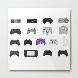 Controller Evolution (Nintendo, Sega, Playstation, Xbox)  Metal Print
