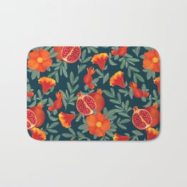 Pomegranate. Blue pattern Bath Mat