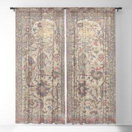 Safavid Silk Metal-Thread Persian Rug Print Sheer Curtain