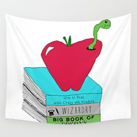 bookworm Wall Tapestries featuring Bookworm by Atomic Starlights