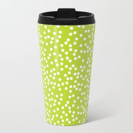 Lime Green and White Polka Dot Pattern Travel Mug