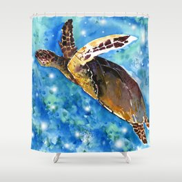Sea Turtle Underwater Shower Curtain