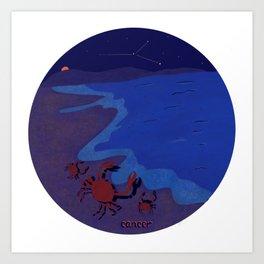 Cancer Nature Zodiac series/beach crabs//cancer sign illustration  Art Print
