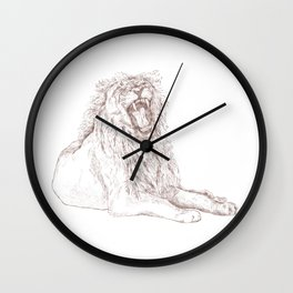 Back Off, Please in Rose Gold | Lion Drawing Wall Clock