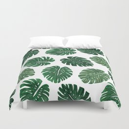 Tropical Hand Painted Swiss Cheese Plant Leaves Duvet Cover