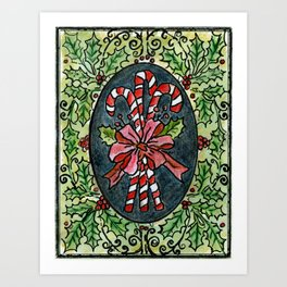 Candy Canes and Holly Art Print