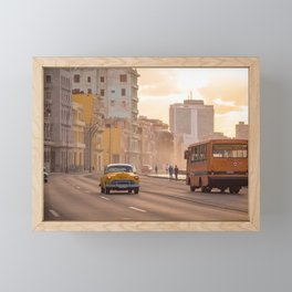 Classic cars and school bus on the Malecon in Havana | Travel photography Cuba Framed Mini Art Print