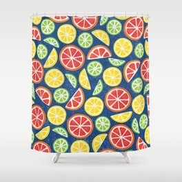 Vitamin C Super Boost - Citric Fruits on Blue Shower Curtain