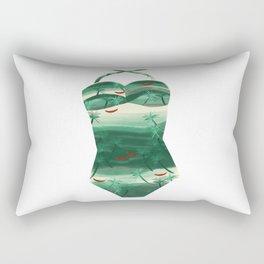 Vintage Green Palms Bathing Suit Rectangular Pillow