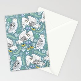 Snowy Owls on a Snowy Day - Teal Background Stationery Cards