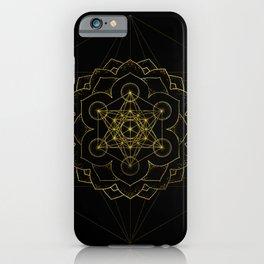 Metatron's Cube in lotus Sacred Geometry  iPhone Case