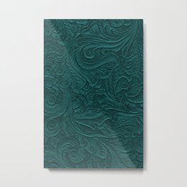 Deep Teal Tooled Leather Metal Print