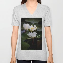 White Lily Flowers In A Pond With Green Lily Pads Unisex V-Neck