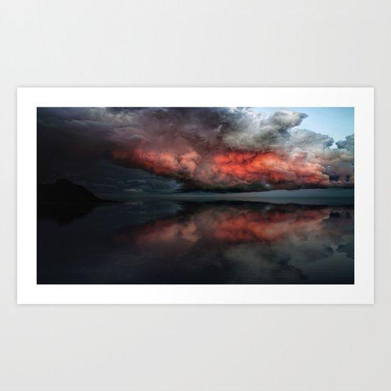 Red cloud reflect Art Print