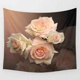 The Roses Blush at Dawn Wall Tapestry