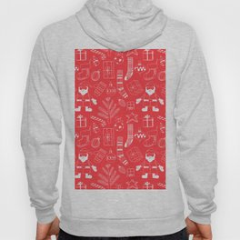 Doodle Christmas pattern red Hoody