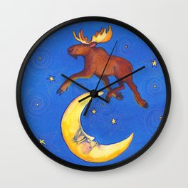 The Moose Jumped Over the Moon by Cindy Shake Wall Clock