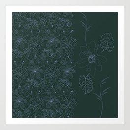 Botanical Garden in the Moonlight Art Print