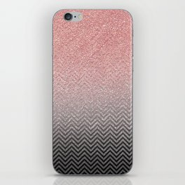 Blush chic pink  silver faux glitter geometrical iPhone Skin