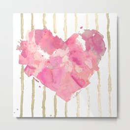 Je t'aime Light Pink Metal Print