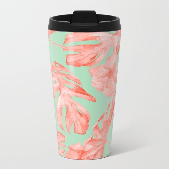 Island Life Coral Pink + Pastel Green Metal Travel Mug