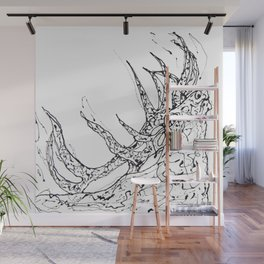 Elk  Dripped Abstract Pollock Style Wall Mural