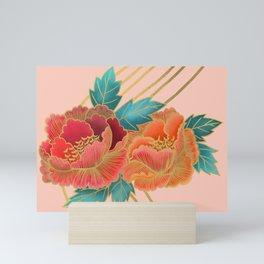 Peonies and Gold Stripes - Pink and Orange Mini Art Print