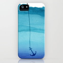 Cute Sinking Anchor in Sea Blue Watercolor iPhone Case
