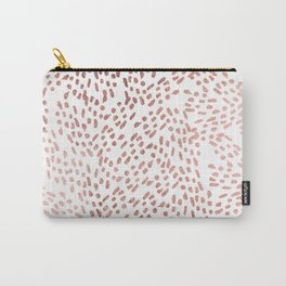 Elegant chic faux rose gold modern brushstrokes Carry-All Pouch