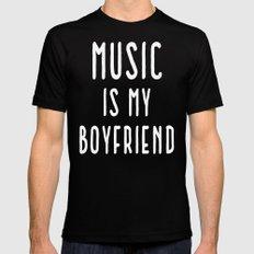 Music Is Boyfriend Quote Mens Fitted Tee Black MEDIUM