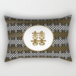 Double Happiness Symbol on Endless Knot pattern Rectangular Pillow