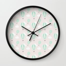Hand painted mauve pink green white hot air balloons pattern Wall Clock