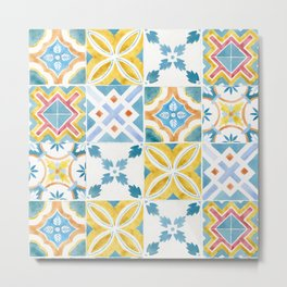 Blue and yellow Brazilian tiles Metal Print