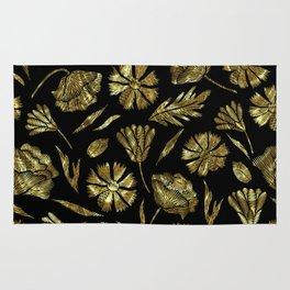 Gold foil look flowers pattern on black Rug