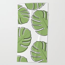 Monstera Leaf Pattern Beach Towel