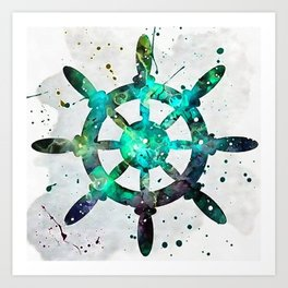 The Captains Wheel Art Print