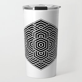 #3 Geometric Hexagon Black And White Travel Mug