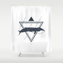 Cosmic Whale. Geometric Style Shower Curtain
