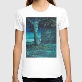 Kawase Hasui Vintage Japanese Woodblock Print Moonlight Shadows Under A Tall Tree Wooden Shrine T-shirt