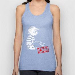 Trump Pee On CNN Funny Tabloid Fake News Anti Media Establishment Kek Trump son Unisex Tank Top