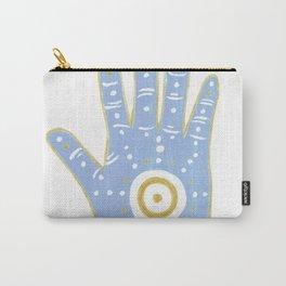 Hamsa Horus Blue White Palm Evil Eye Carry-All Pouch