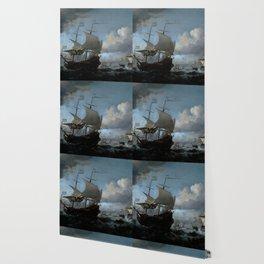 """Willem van de Velde """"The Dutch Fleet Assembling"""" Wallpaper"""
