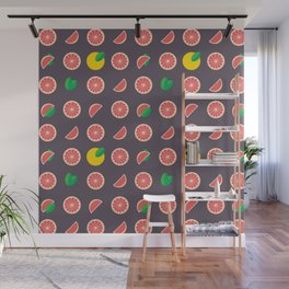 Abstract red yellow purple grapefruits pattern Wall Mural
