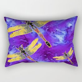 Golden Dragonflies Midnight Blue Dreamscape Rectangular Pillow
