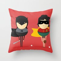 super heroes Throw Pillows featuring Heroes & super friends! by Juliana Rojas | Puchu
