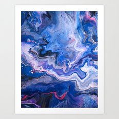 Indigo, Neon Pink, Florescent Red, Black, Blue, and White Fluid Acrylic Abstract Painting Art Print