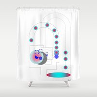 geometry Shower Curtains featuring Geometry space by BIGEHIBI