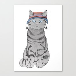 Cat in Hat Canvas Print