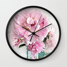 Romantic Shabby Chic Cottage Pink Peonies In Aqua Vase Wall Clock